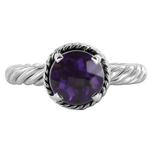Polished Finish Amethyst Gemstone 925 Sterling Silver Ring