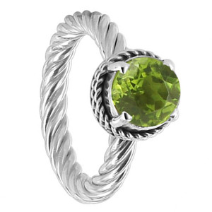 Polished Finish Peridot Gemstone Sterling Silver Ring