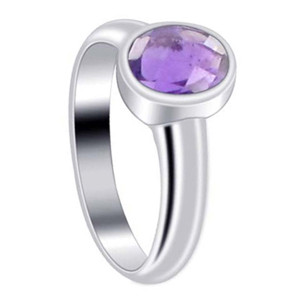 Polished Finish Oval Amethyst Gemstone Sterling Silver Ring