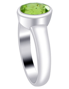 Polished Finish Oval Peridot Gemstone Sterling Silver Ring