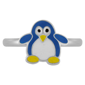 Sterling Silver Blue Enamel Penguin kids Womens Rings