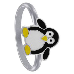 Sterling Silver Black Enamel Penguin kids Womens Rings