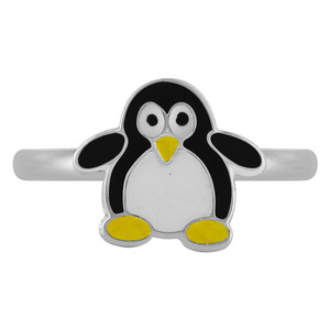 Sterling Silver Black Enamel Penguin kids Women's Rings