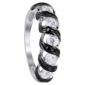 925 Sterling Silver Clear and Black Cubic Zirconia Enamel Stripes Ring