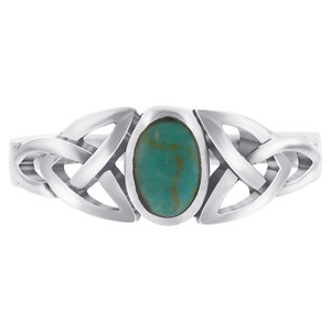 925 Sterling Silver Simulated Oval Turquoise Celtic Knot Ring