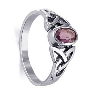 Oval Purple CZ Cubic Zirconia Celtic Knot Sterling Silver Ring