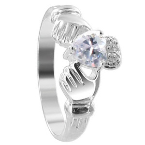 Purple Cubic Zirconia Heart 925 Sterling Silver Claddagh Ring
