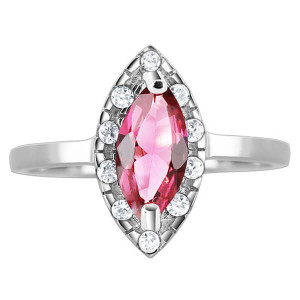 925 Silver Marquise Rose CZ Solitaire & accents Ring