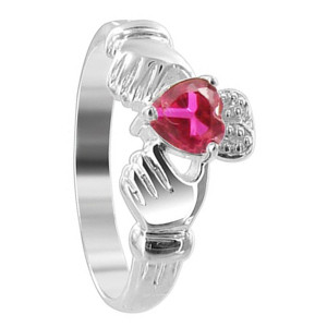 Sterling Silver Ruby Red Cubic Zirconia Heart Claddagh Ring