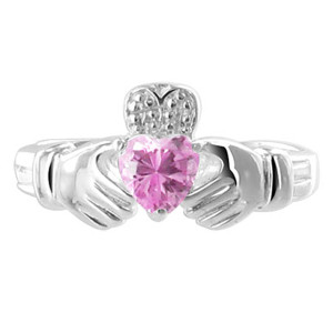 Pink Cubic Zirconia Heart 925 Sterling Silver Claddagh Ring