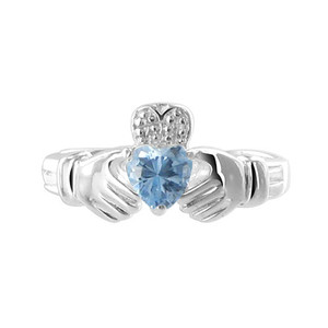 Blue Cubic Zirconia Heart 925 Sterling Silver Claddagh Ring