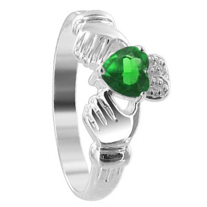 Sterling Silver Green Cubic Zirconia Heart Emerald CZ Claddagh Ring