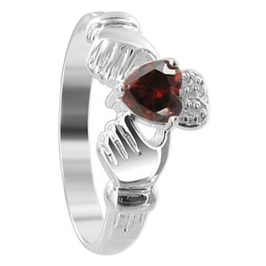 Red Cubic Zirconia Heart 925 Sterling Silver Claddagh Ring
