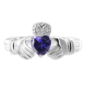 Sterling Silver Purple Cubic Zirconia Amethyst CZ Heart Claddagh Ring