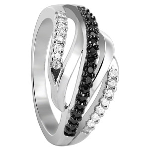 925 Sterling Silver Prong Set Black and Clear Cubic Zirconia Wavy Design Ring