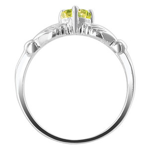 Sterling Silver Yellow Cubic Zirconia Citrine Heart Claddagh Ring