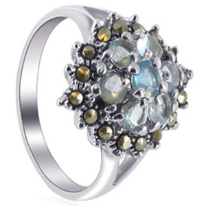 Sterling Silver Aquamarine Round Cubic Zirconia Flower Design with Marcasite Ring