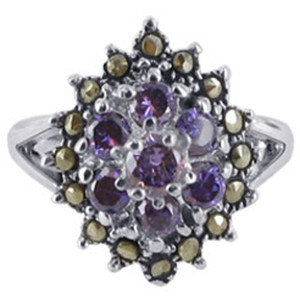 Sterling Silver Purple Amethyst Round Cubic Zirconia Flower Design with Marcasite Ring