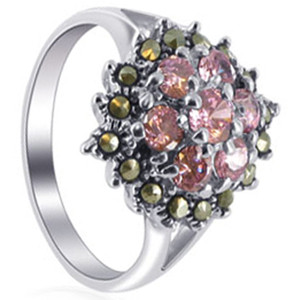 925 Silver Pink ice CZ Flower Design with Marcasite Ring