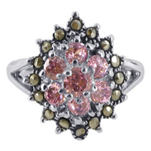 Sterling Silver Pink ice Cubic Zirconia Flower Design with Marcasite Ring