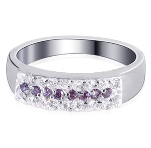 Sterling Silver Amethyst Clear Cubic Zirconia CZ Ring
