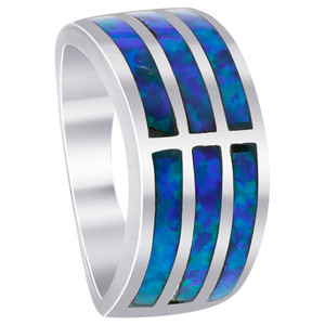 925 Sterling Silver Created Blue Opal 9mm wide Stripes Ring