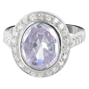 Sterling Silver Oval Lavender with Clear Cubic Zirconia Ring