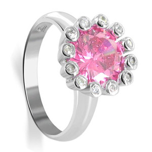 Sterling Silver Round Pink Cubic Zirconia with Accents Flower Ring