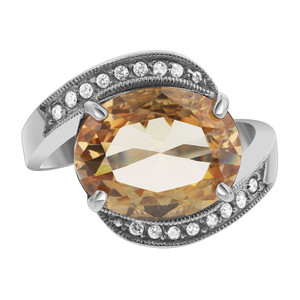 925 Silver Oval Champagne Color CZ with Accents Ring
