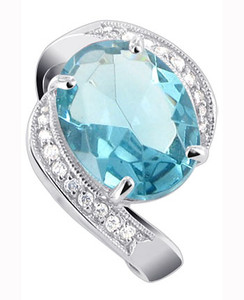 925 Silver Oval Aquamarine Color CZ with Accents Ring