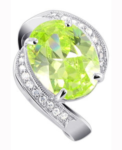 Sterling Silver Oval Peridot Green Cubic Zirconia CZ with Accents Ring