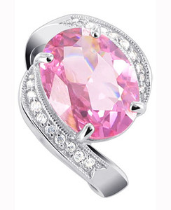 925 Silver Oval Pink ice Cubic Zirconia CZ with Accents Ring