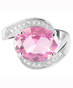 Sterling Silver Oval Pink ice Cubic Zirconia CZ with Accents Ring