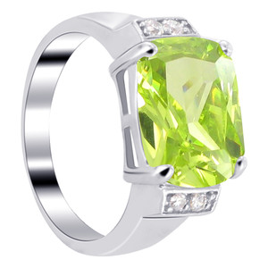 925 Silver Green CZ with Accents Emerald Cut Ring
