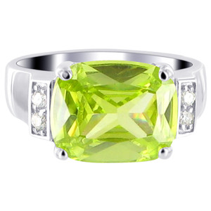 Sterling Silver Green Cubic Zirconia CZ with Accents Emerald Cut Ring