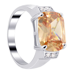 925 Silver Champagne Color CZ with Accents Emerald Cut Ring