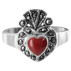 925 Silver Red Agate Heart with Marcasite Ring