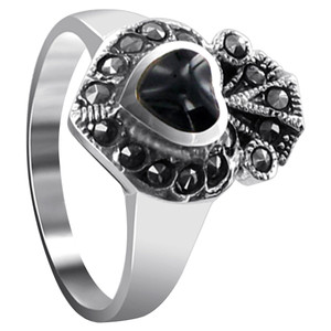 Sterling Silver Simulated Heart Black Onyx Marcasite Ring