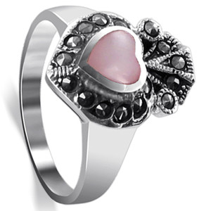 925 Silver Pink Heart Shell Inlay Marcasite Ring