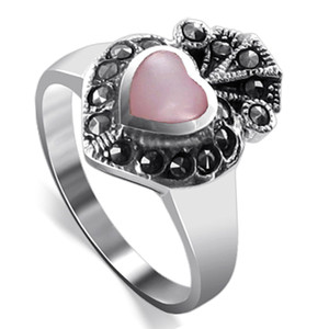 Sterling Silver Pink Heart Shell Inlay Marcasite Ring