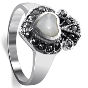Sterling Silver White Heart Mother of Pearl Inlay Marcasite Ring
