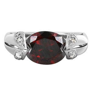Sterling Silver Garnet Oval CZ Cubic Zirconia Ring