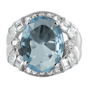 Sterling Silver Oval Blue Color CZ Cubic Zirconia 5mm Ring