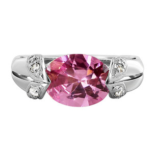 Sterling Silver Oval Pink ice CZ Cubic Zirconia Ring