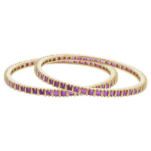 Gold Plated Ruby Red Glass Bollywood Indian Bangle Bracelet Set of 2