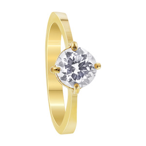 Stainless Steel Gold Tone Round Clear Cubic Zirconia Solitaire Ring