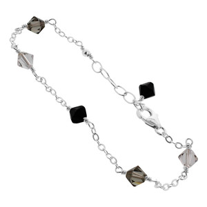 Sterling Silver Swarovski Elements Black Bicone Crystal Ankle Bracelet