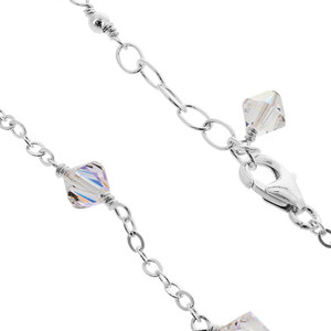 Sterling Silver Swarovski Elements Clear AB Bicone Crystal Ankle Bracelet