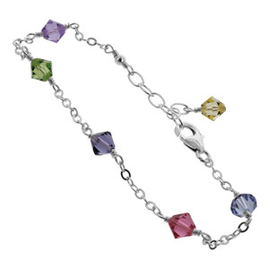 Sterling Silver Swarovski Elements Multicolor Bicone Crystal Adjustable Ankle Bracelet