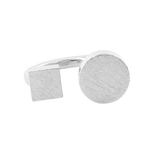 Silver Plated Square & Round Scratch Style Ring